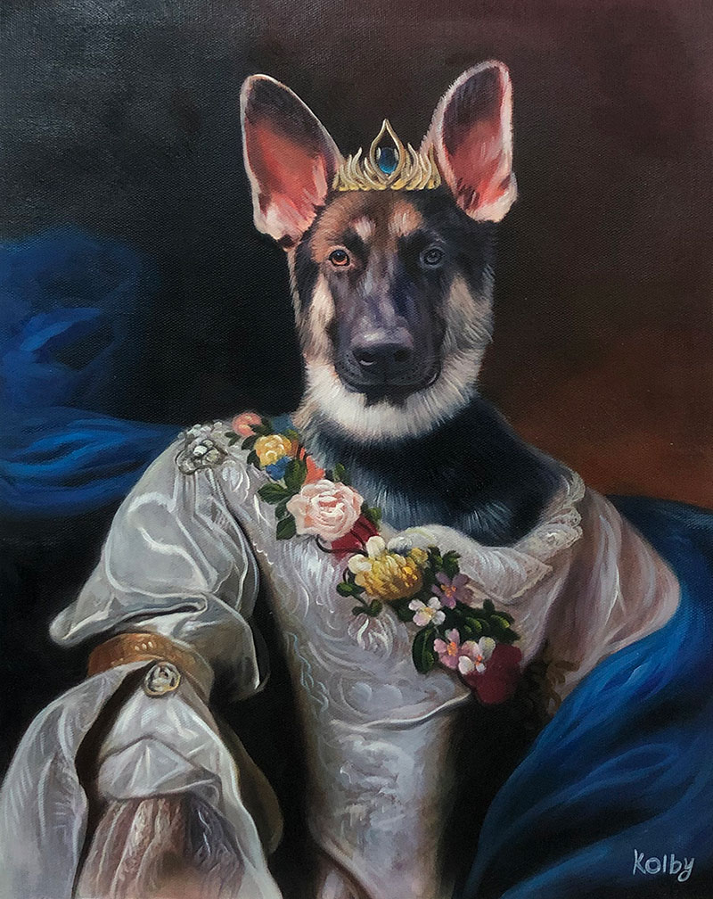 Beautiful handmade oil painting of a dog with crown