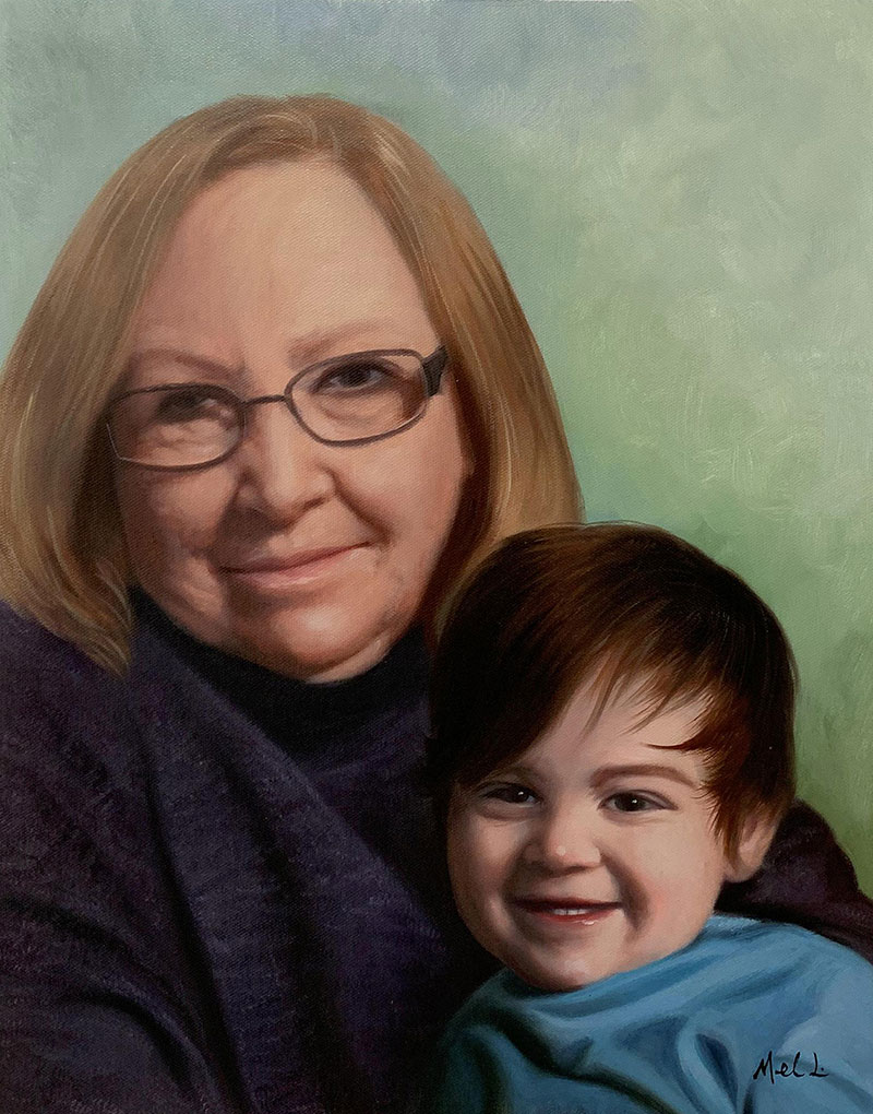 Custom oil painting of a grandmother and a grand kid