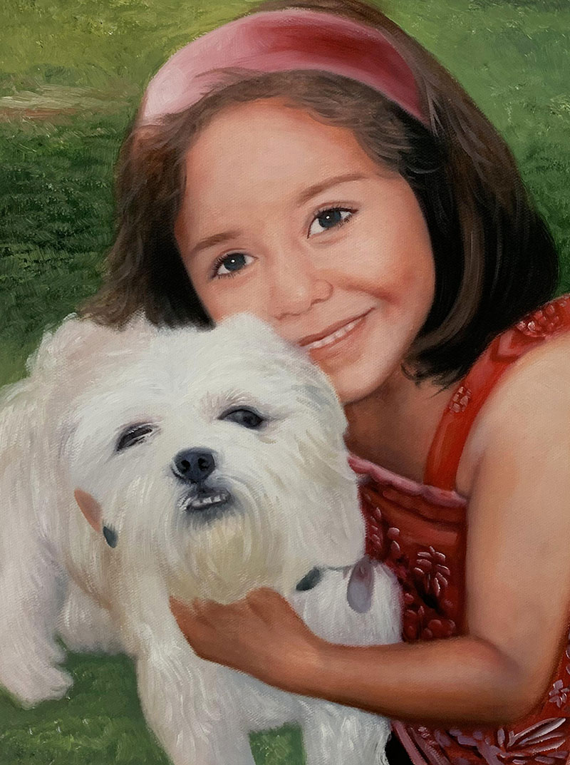 Beautiful oil painting of a girl with pet