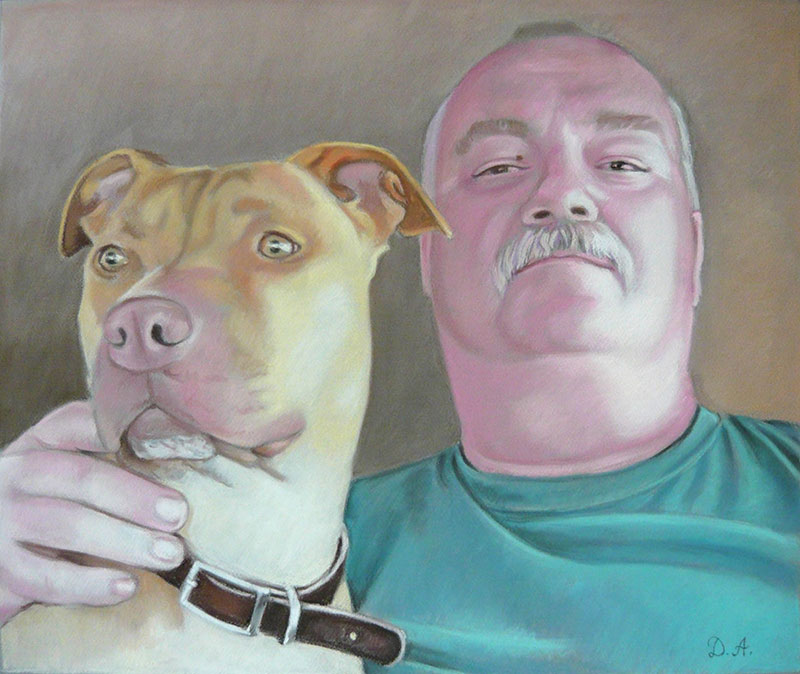 photo to pastel painting man with dog