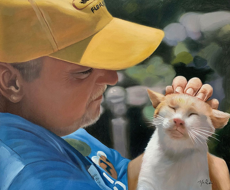 Custom handmade oil artwork of a man with pet