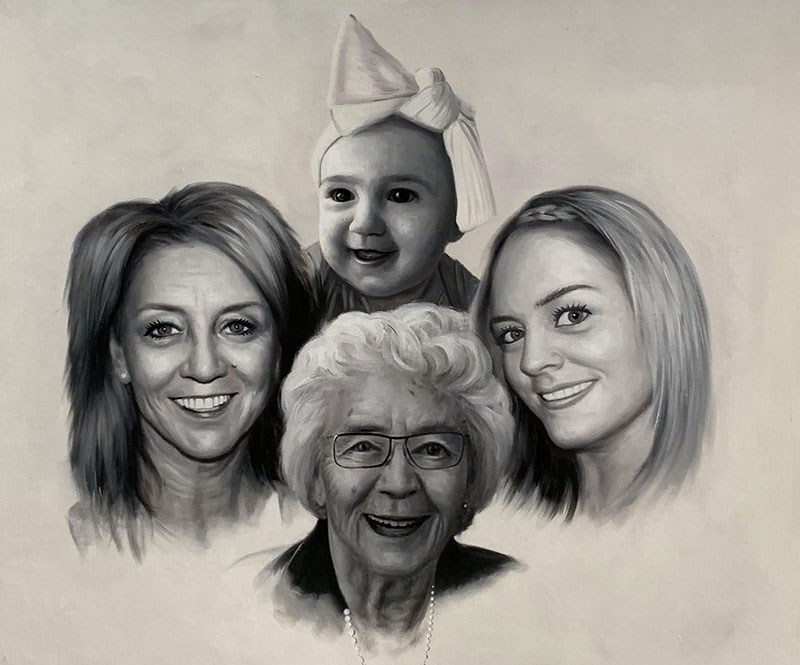 Custom handmade oil artwork of a family