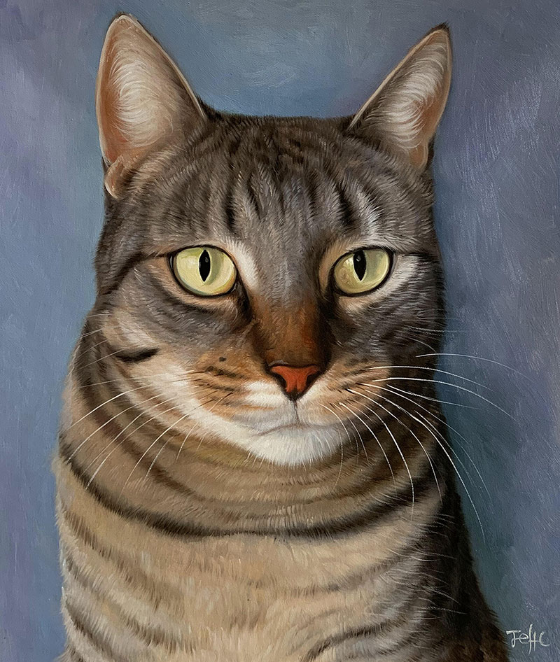 Beautiful handmade oil painting of a cat