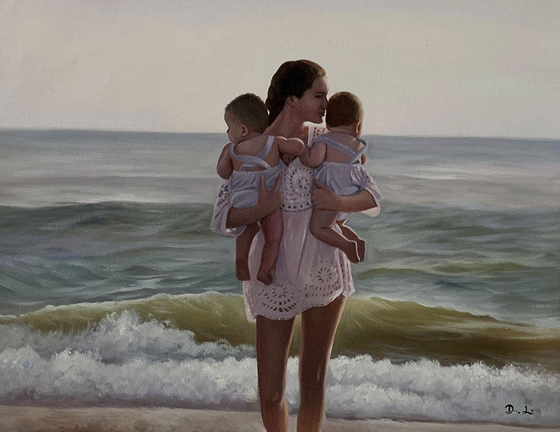 Custom oil painting of a mother with the babies by the sea