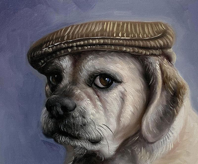 Hundeportrait mit Hut