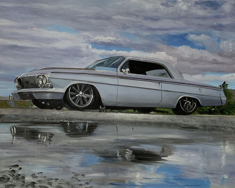 Vintage oil painting of an old car