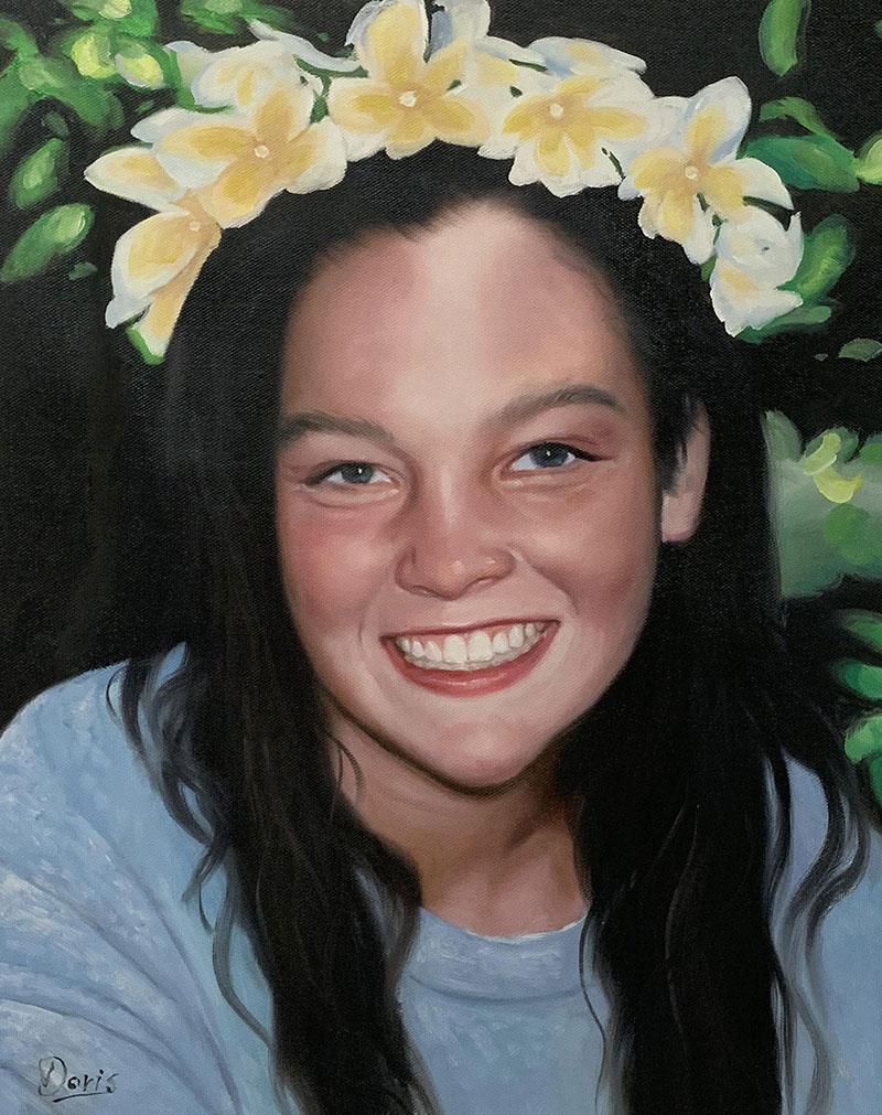 Ritratto con corona di fiori olio da fotografia