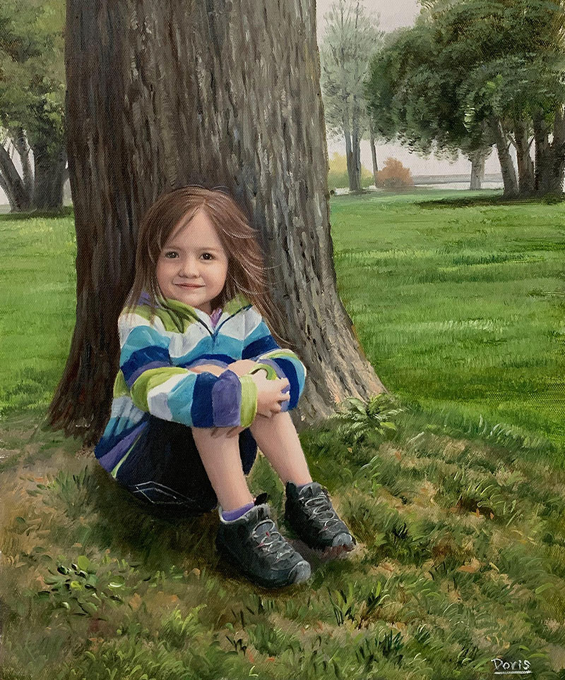 Custom oil painting of a child by the tree