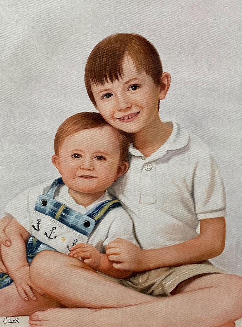 Custom acrylic painting of siblings