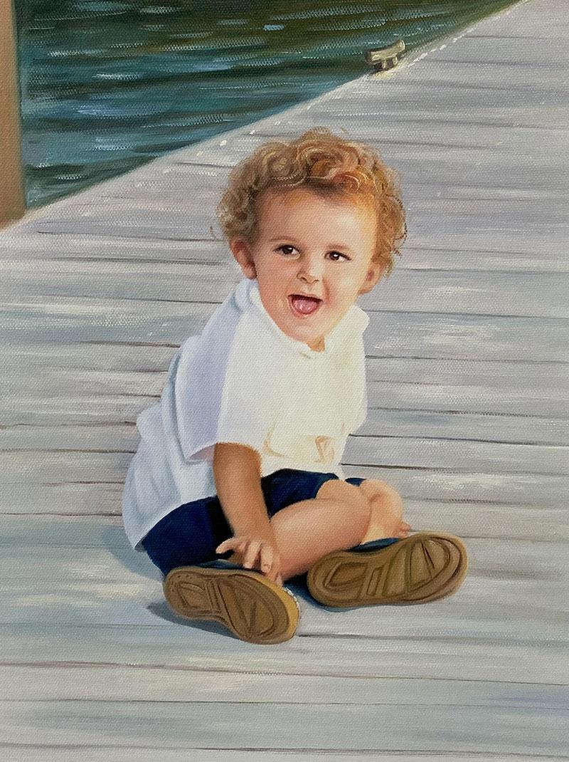Custom oil painting of a little boy