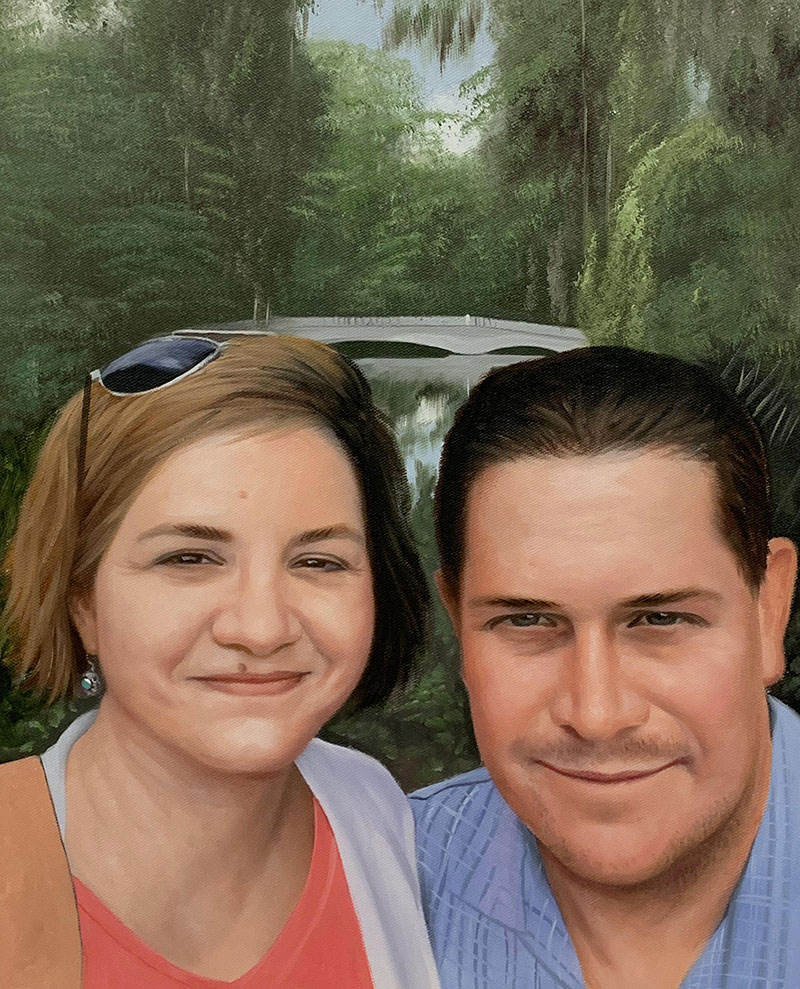 Beautiful handmade oil portrait of a loving couple
