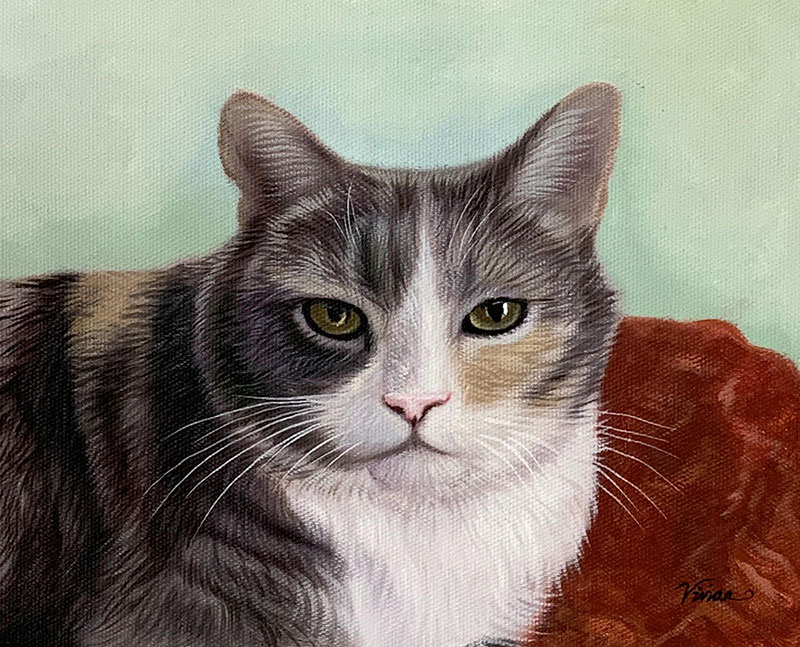 personalized oil painting of a cat laying on a red blanket