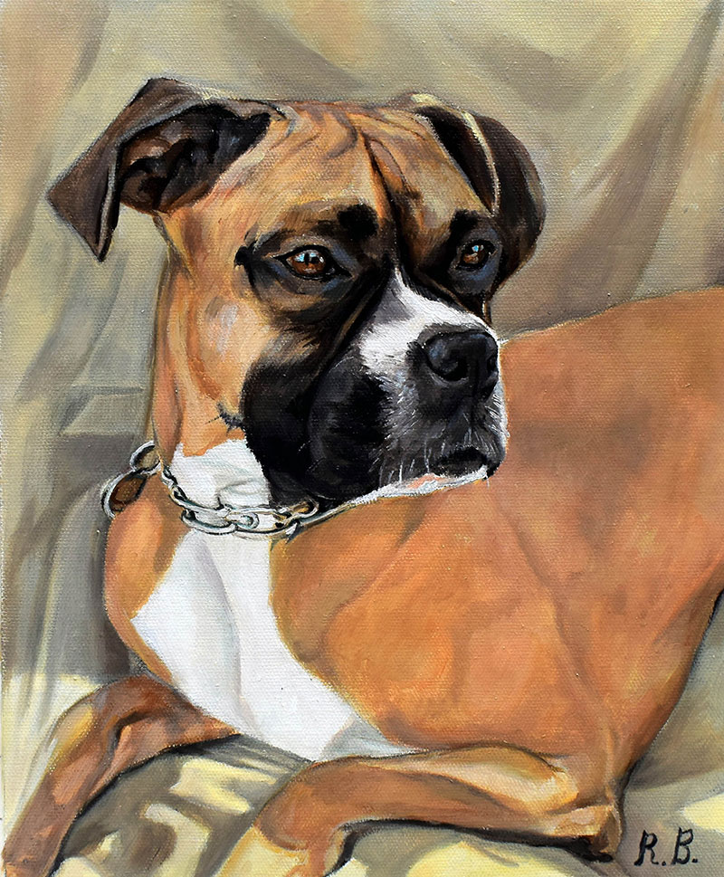 Personilized oil portrait of a boxer