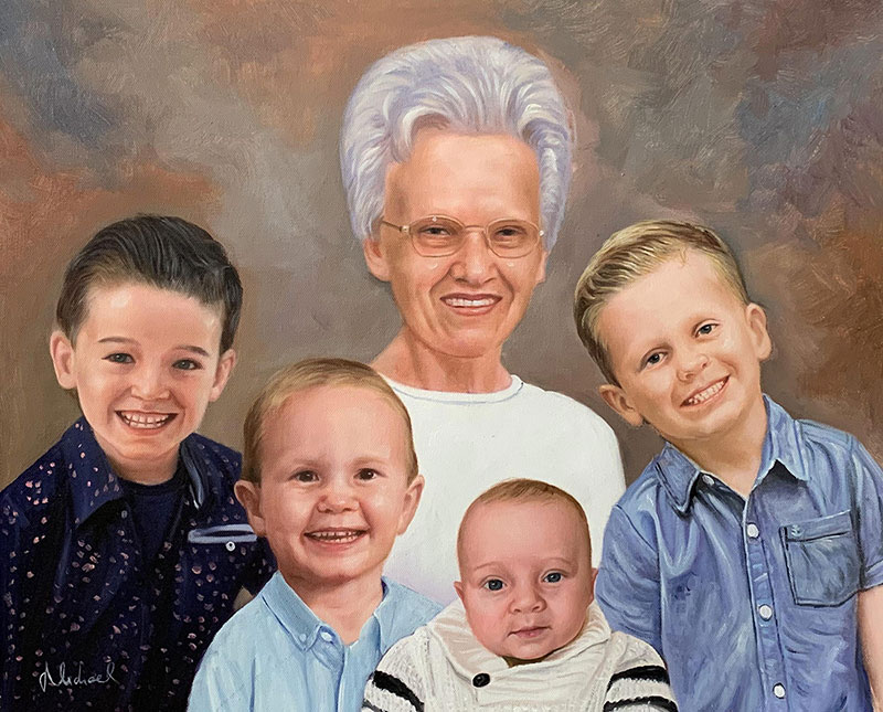 Beautiful oil family portrait of five people