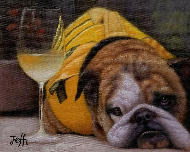 Custom handmade oil painting of a dog with a glass of wine