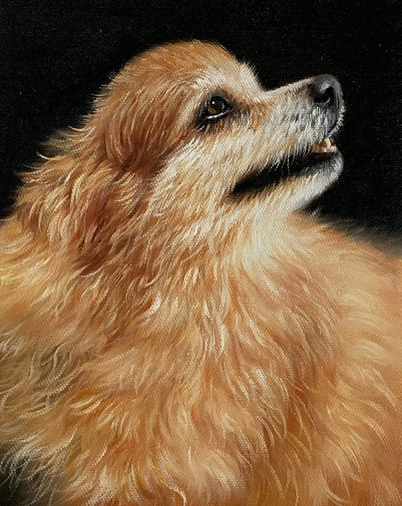 Custom handmade oil artwork of a dog