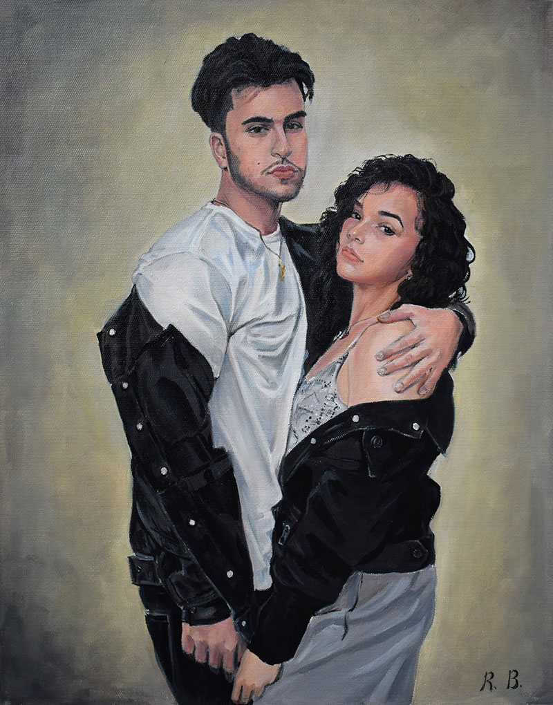 Custom oil portrait of a loving couple