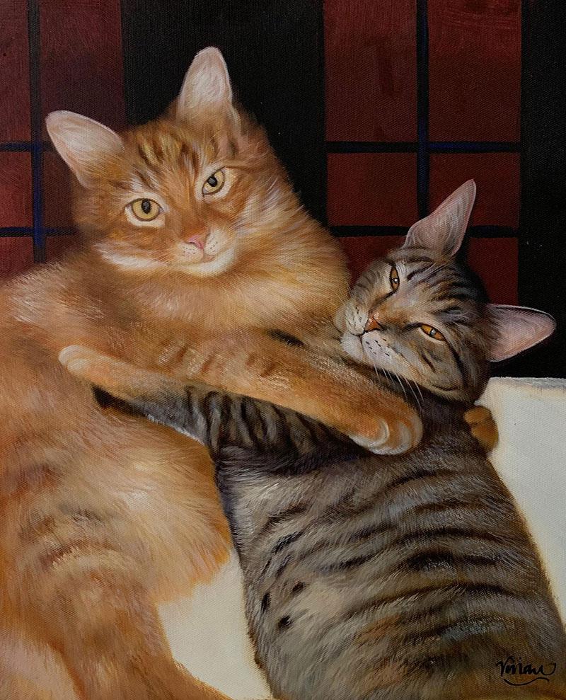 Custom handmade oil artwork of two cats