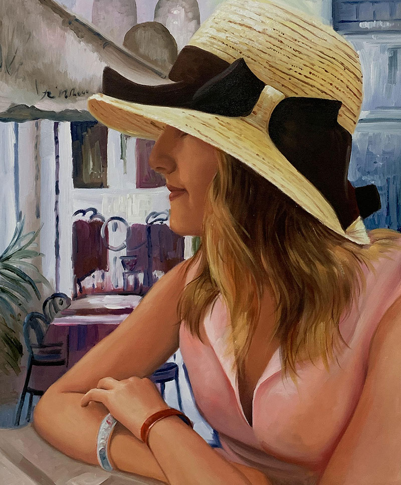 Beautiful oil painting of a lady with hat
