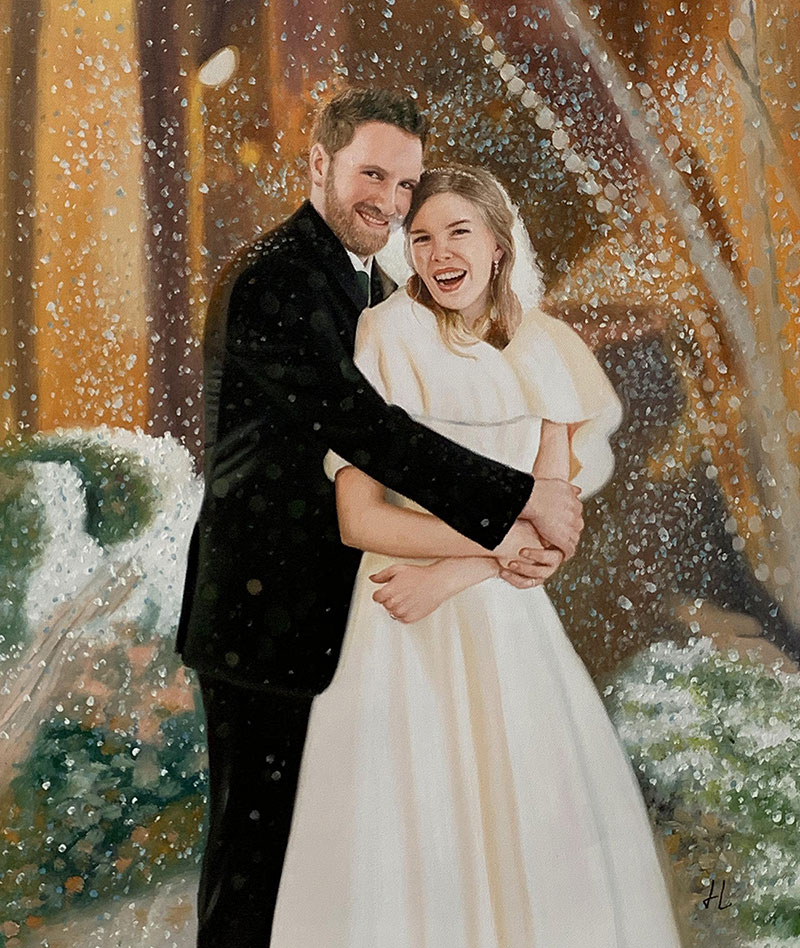 Gorgeous oil painting of a just married couple