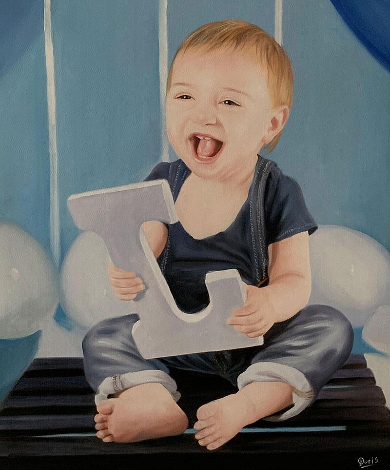 Beautiful handmade oil portrait of a baby