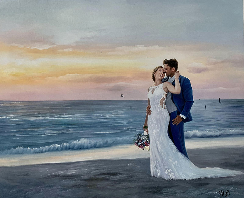 Beautiful wedding portrait of a loving couple