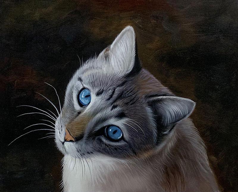 Custom handmade oil artwork of a cat