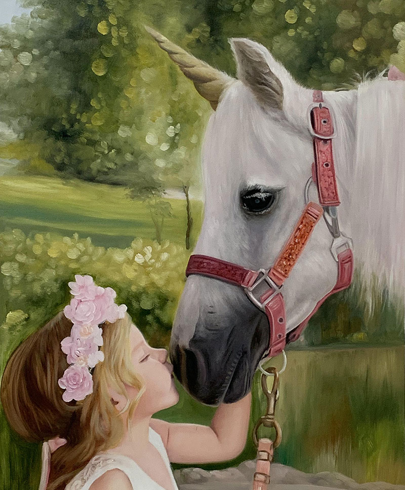 Gorgeous oil artwork of a little girl with a horse