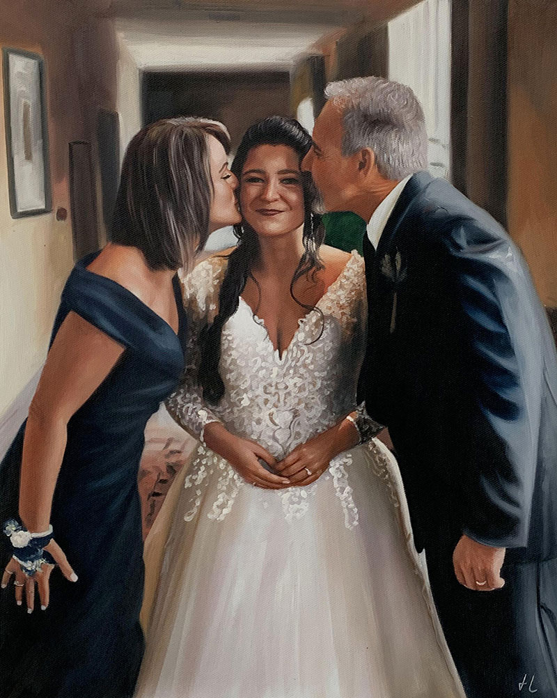 Beautiful wedding portrait of a family