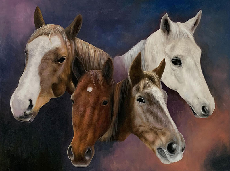 Custom handmade acrylic artwork of four horses