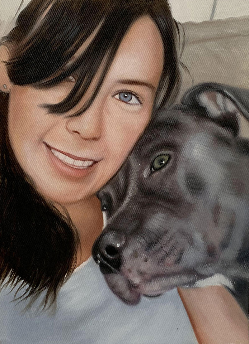 Beautiful close up oil painting of a lady with a dog