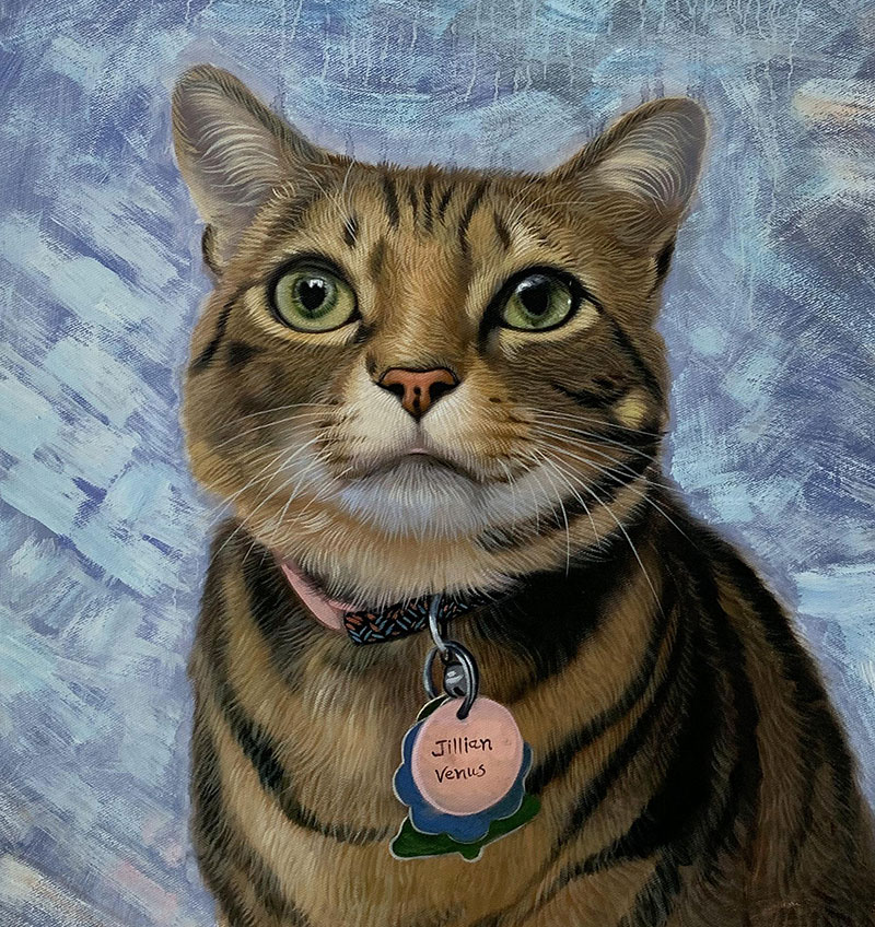 Custom handmade acrylic artwork of a cat