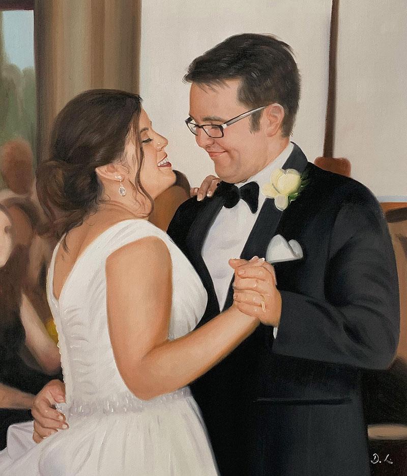 Gorgeous wedding portrait of a loving couple