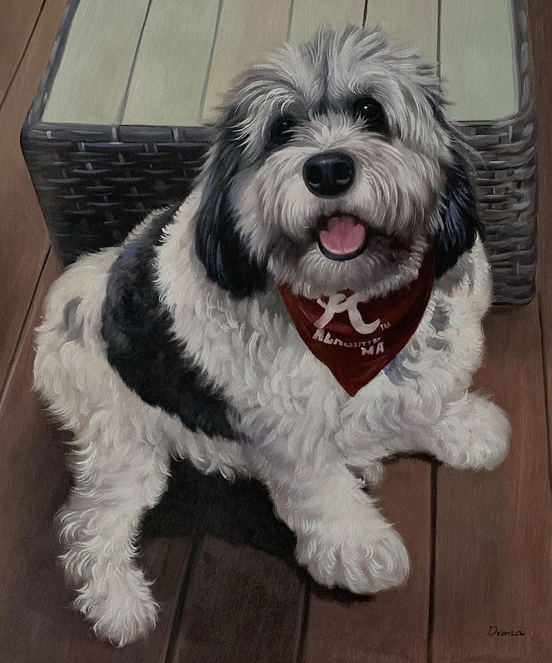 Custom handmade oil artwork of a dog