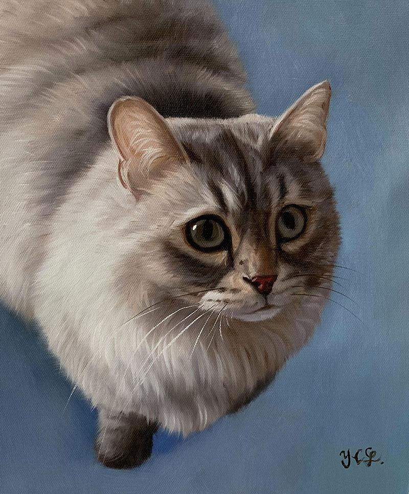 Custom handmade acrylic artwork of a cat