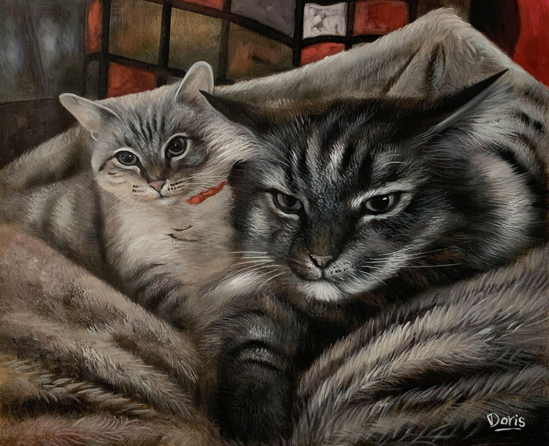 Custom oil painting of two cats