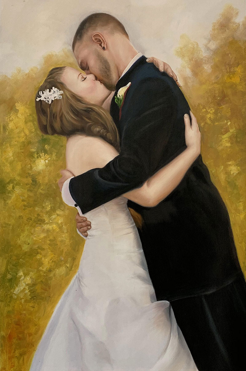 Beautiful oil painting of a couple kissing