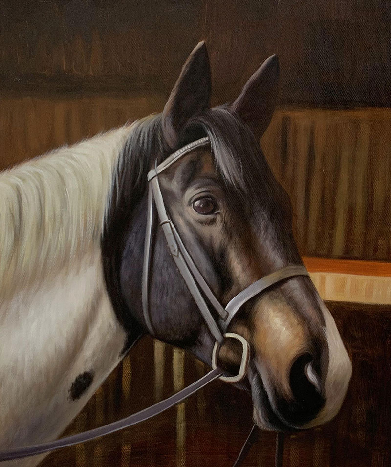 Custom oil painting of a horse