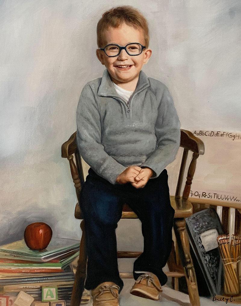 Personalized oil portrait of a little boy