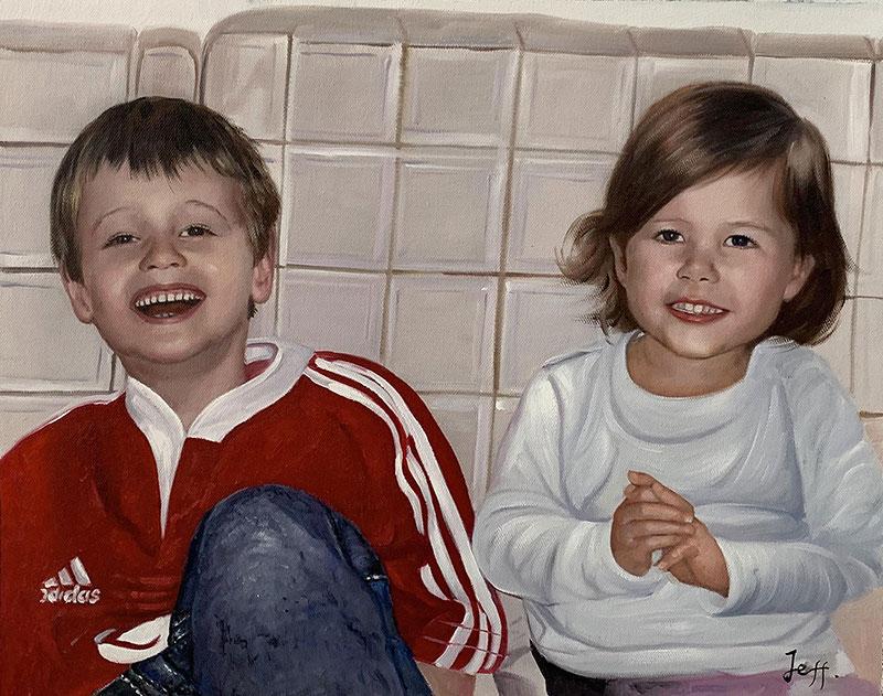 Custom oil painting of two children