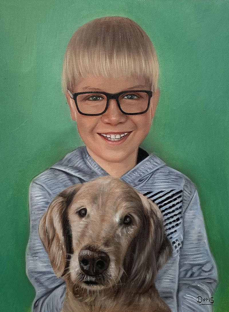 Custom oil painting of a boy and a dog