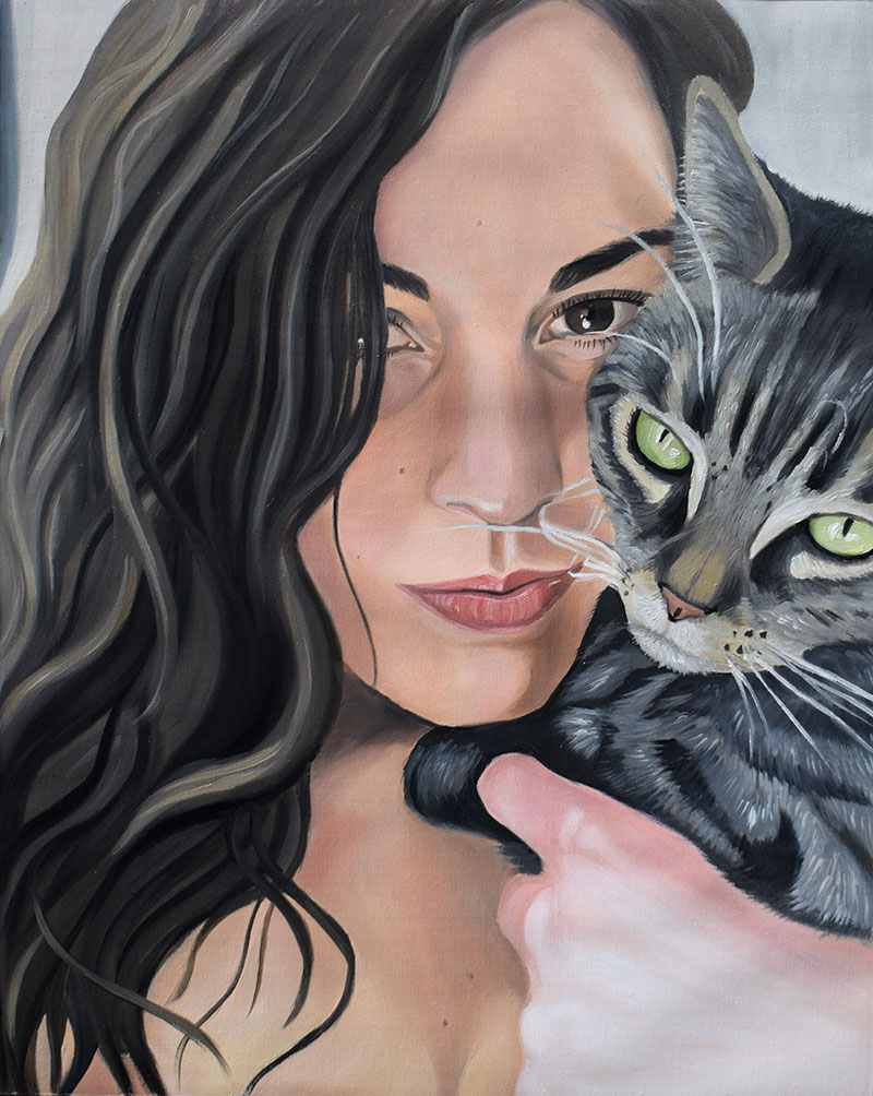 Custom oil painting of a girl with a cat