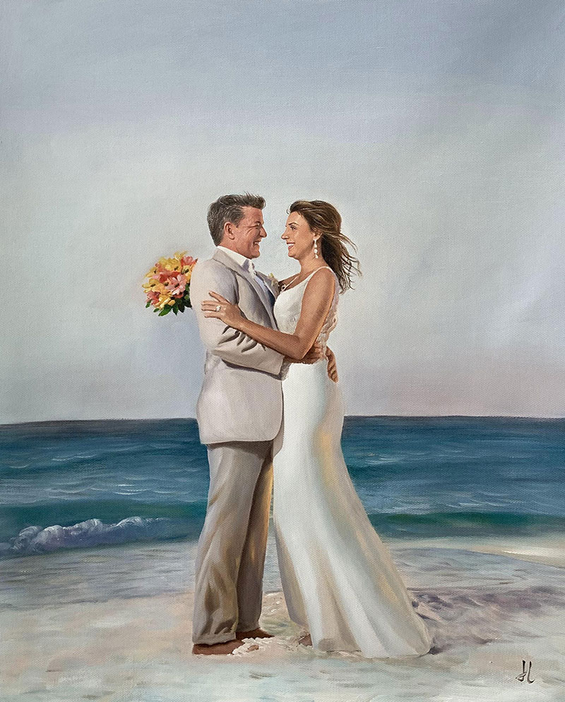 Gorgeous oil painting of a couple