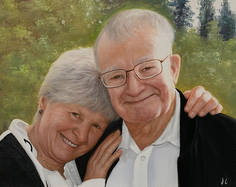 Custom handmade acrylic painting of a happy couple