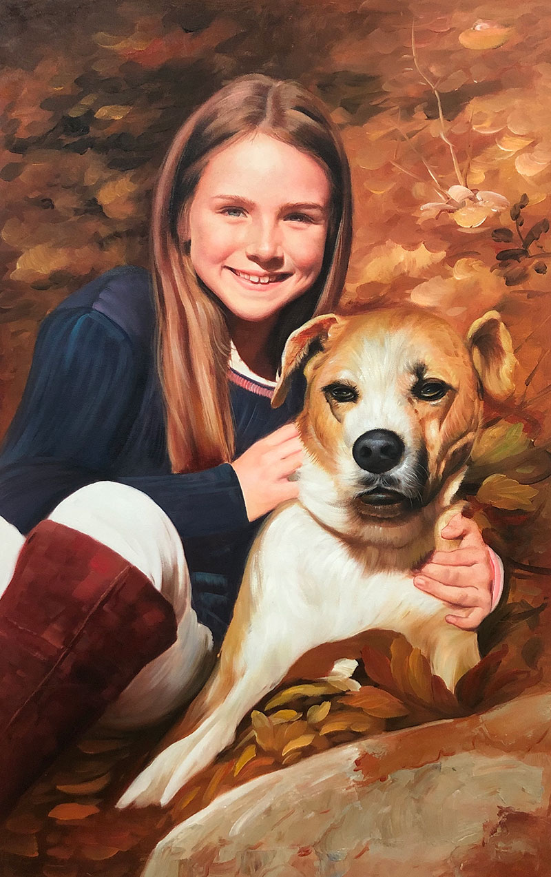 Beautiful acrylic painting of a girl with a dog