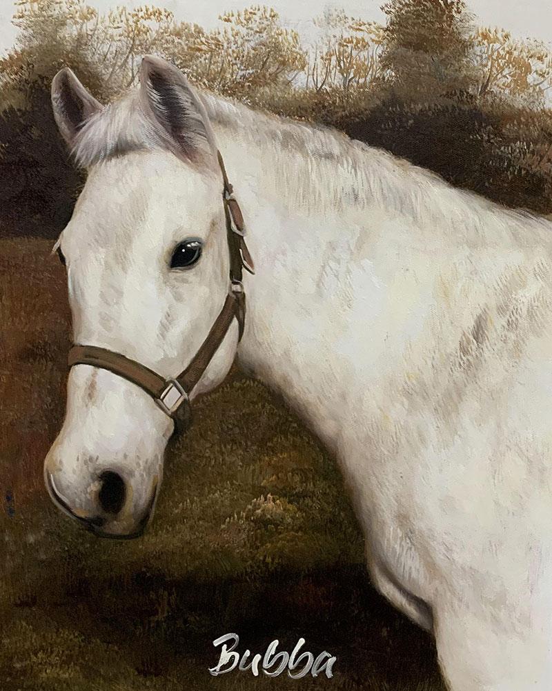 Custom handmade oil painting of white horse