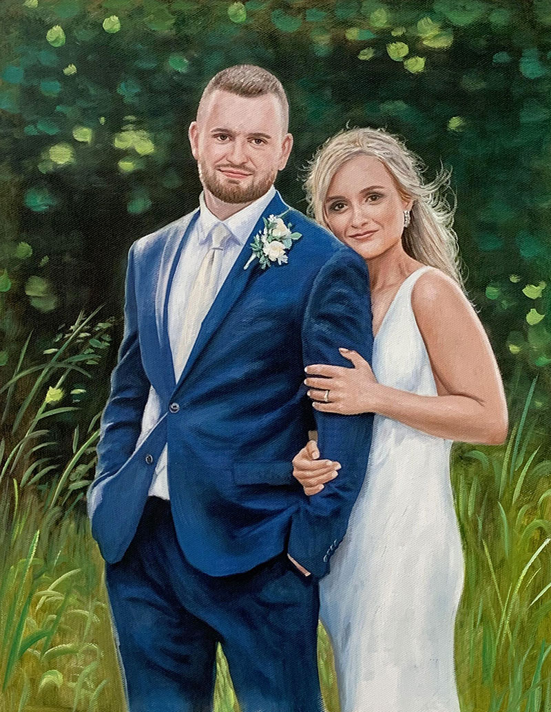 Custom handmade oil painting of a happy couple