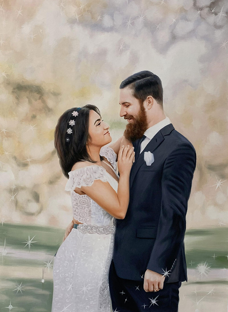 Custom handmade oil painting of a just married couple