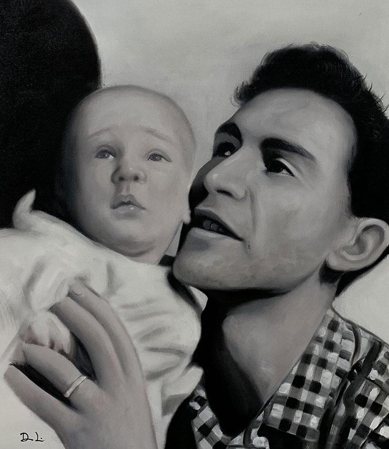 Beautiful black and white acrylic painting