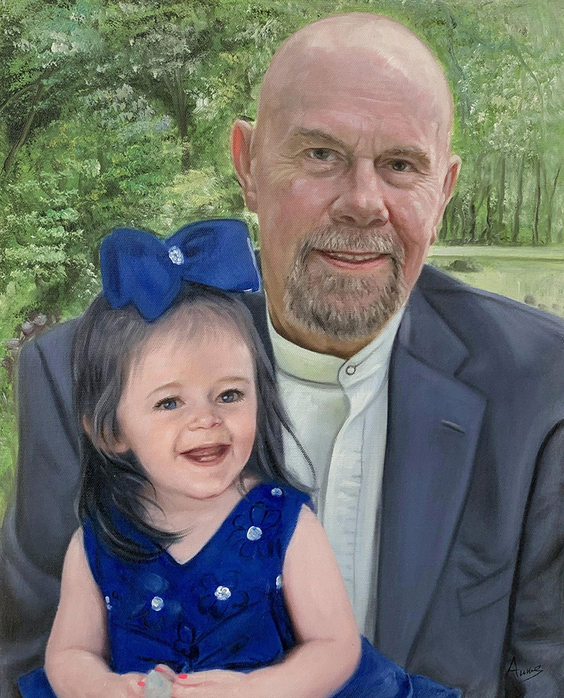 Custom oil painting of a father and daughter